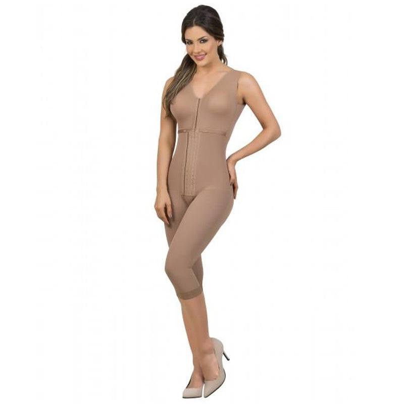 Maria E Post Surgery Capri Bodysuit Shaper with Bra, Moka