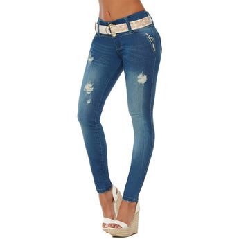 DGLAM Butt-Lifting Skinny Jeans Tummy Control Colombian Levanta Cola, Ripped Washed Blue