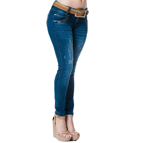 Truccos Butt-Lifting Skinny Jeans Tummy Control Colombian Levanta Cola, Ripped Washed Blue