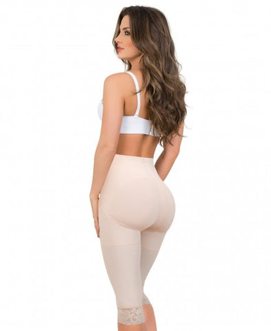 Maria E Butt Lifter Thigh Slimmer Tummy Control Compression Pants Capri, Beige