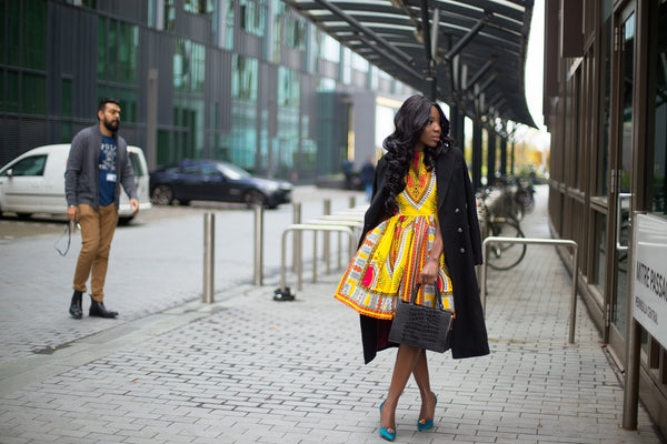 African print of the day with Christelle - Brightness in grey London