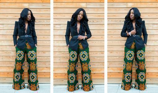 African print of the day with Christelle- My African wide leg pant obsession.