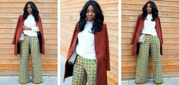 African print of the day with Christelle: Wearing wide leg pants in Winter