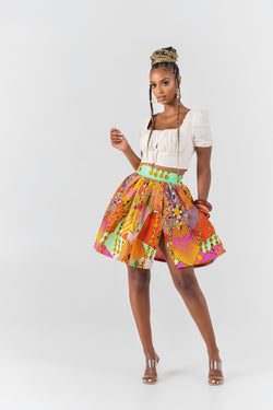 Grass-Fields African midi skirt African Print Claudia Mini Skirt