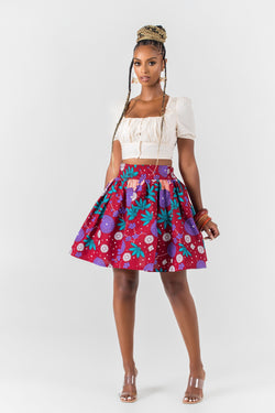 Grass-Fields African midi skirt African Print Laetitia Mini Skirt