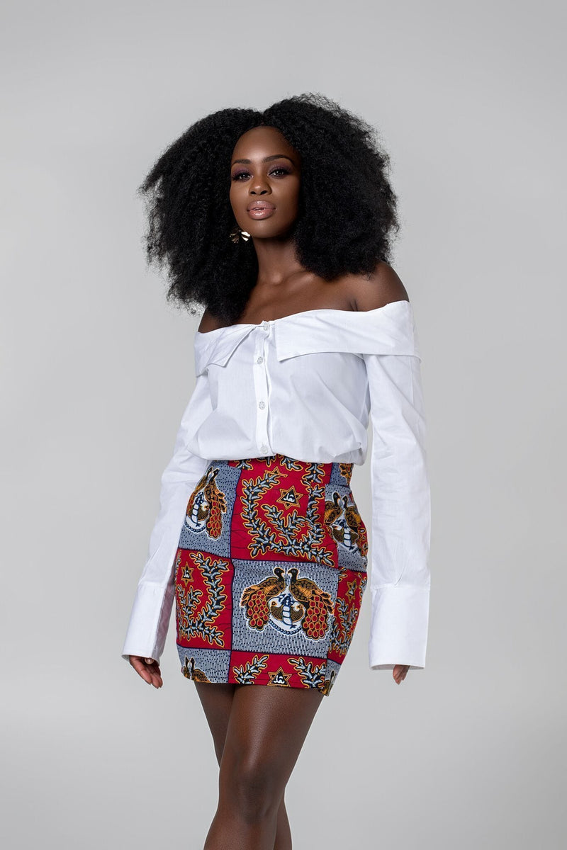 Grass-Fields African midi skirt African Print Neha Mini Skirt