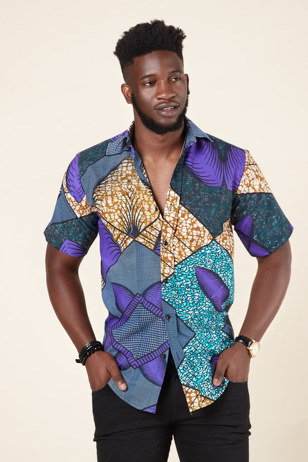 Grass-fields African Print Hakeem Shirt