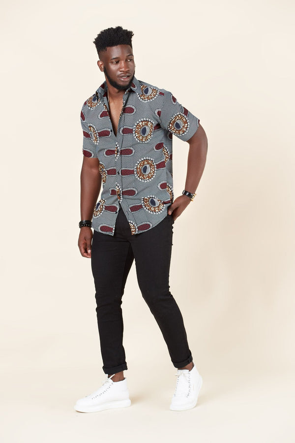 Grass-fields African Print Isaac Shirt