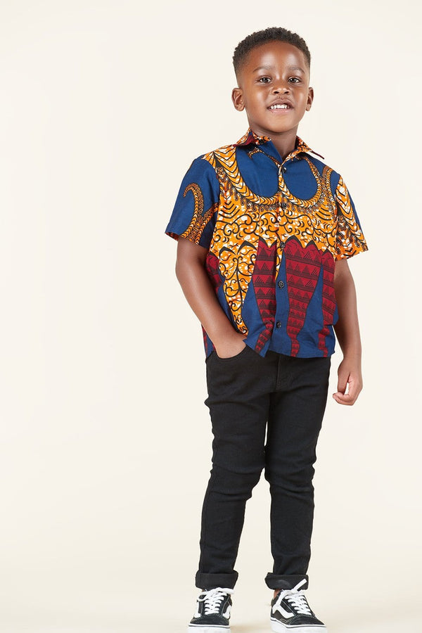 Grass-Fields African Print Jacob Kid's Shirt