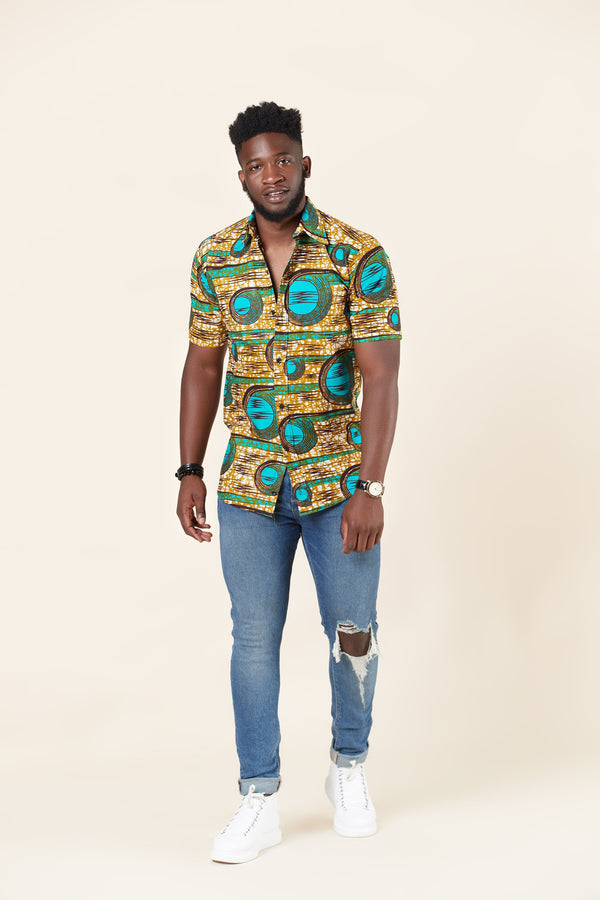 Grass-fields African Print John Shirt