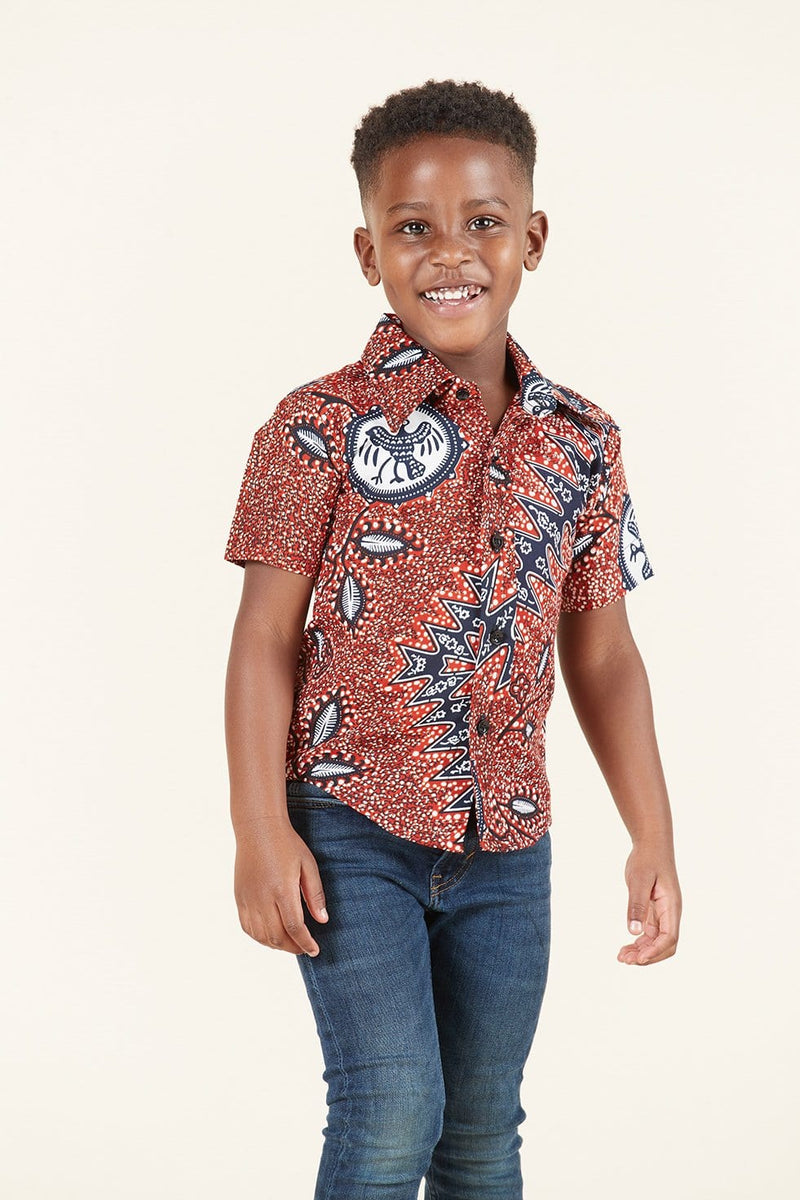 Grass-Fields African Print Kofi Kid's Shirt