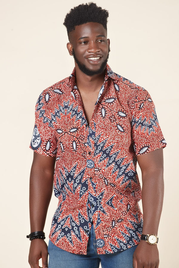 Grass-fields African Print Kofi Shirt