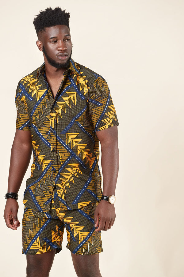 Grass-fields African Print Kwame Shirt