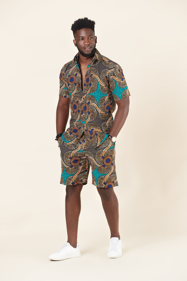 Grass-fields African Print Mathis Shirt