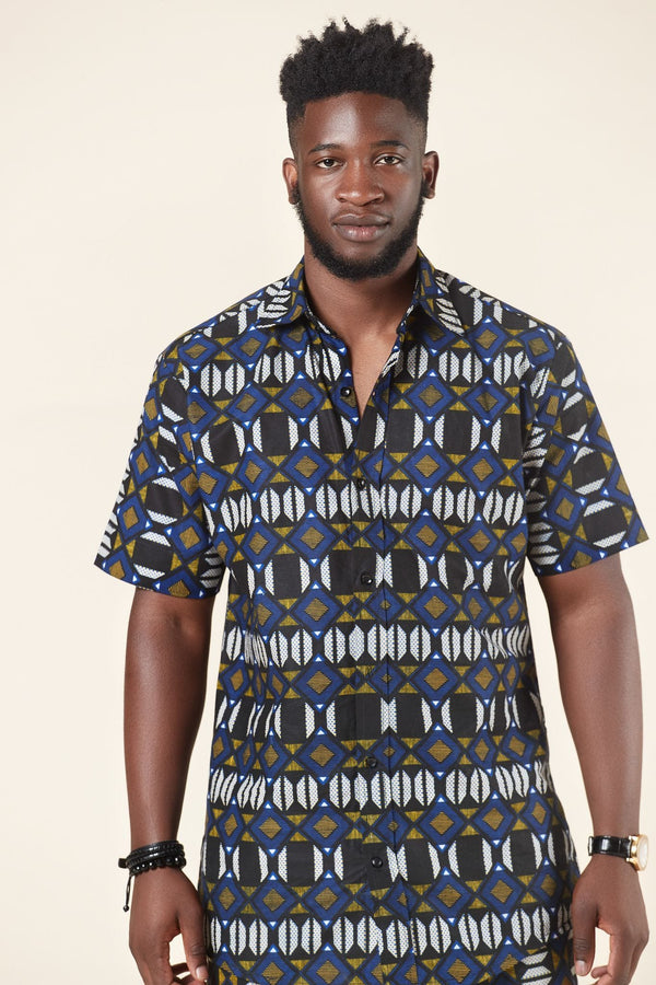 Grass-fields African Print Noah Shirt