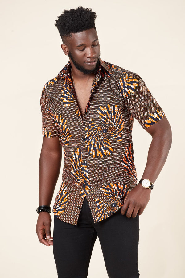 Grass-fields African Print Omari Shirt