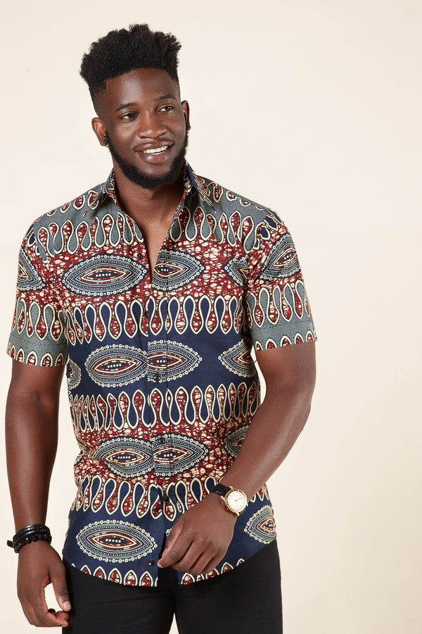 Grass-fields African Print Samih Shirt