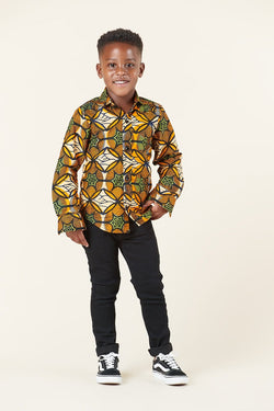 Grass-Fields African Print Samuel Kid's Shirt
