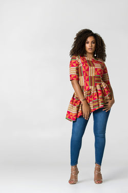 Grass-Fields African Print Top African print Dubaku Top