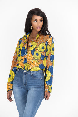 Grass-Fields African Print Top African Print Imani Shirt