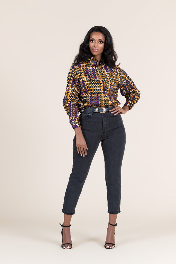 Grass-Fields African Print Top African Print Tiwa Shirt