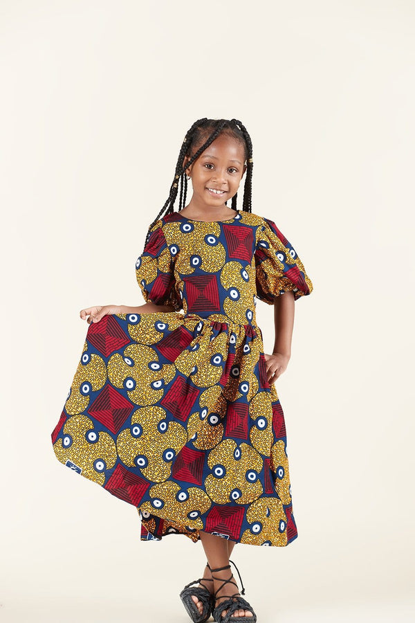 Grass-Fields Dress African Print Adah Kid's Dress