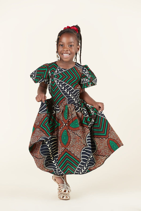 Grass-Fields Dress African Print Mary Kid's Dress