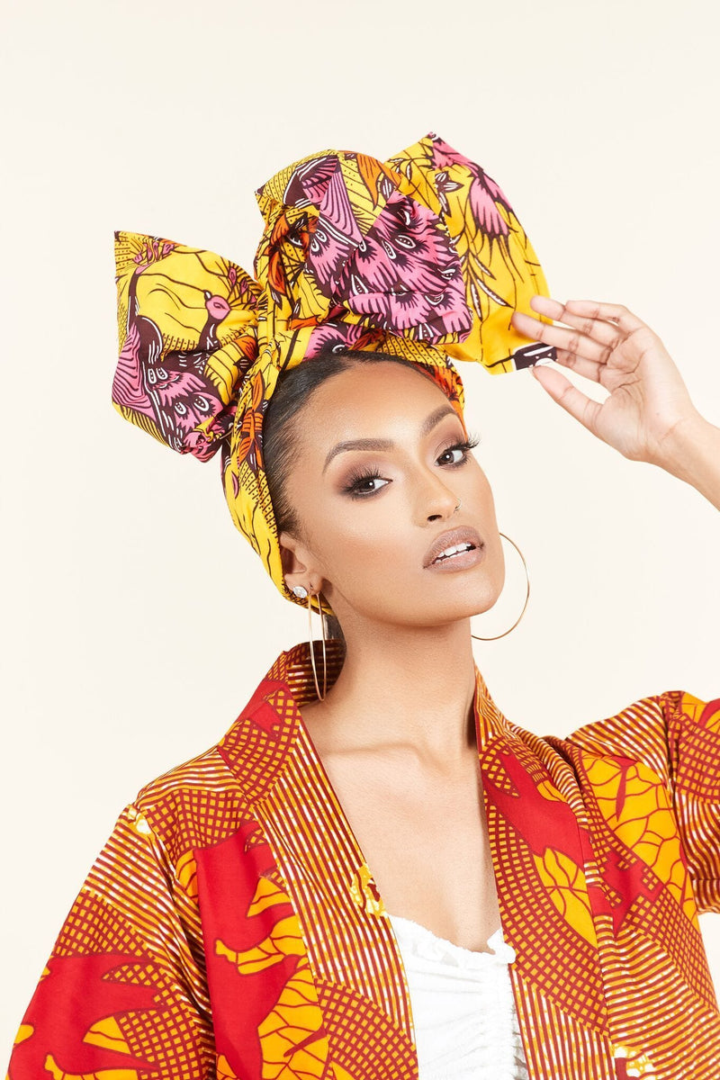 Grass-fields headwrap African Print Coumba Headwrap