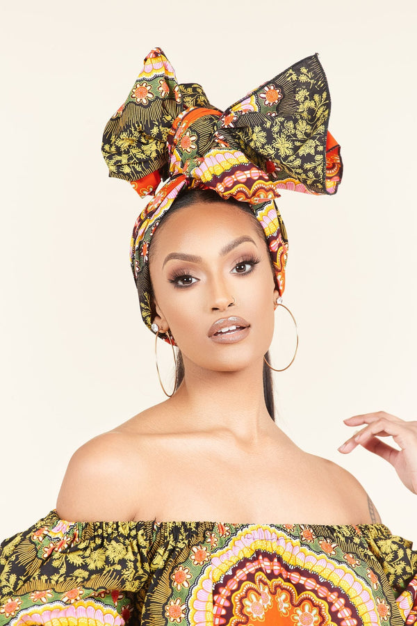 Grass-fields headwrap African Print Dove Headwrap