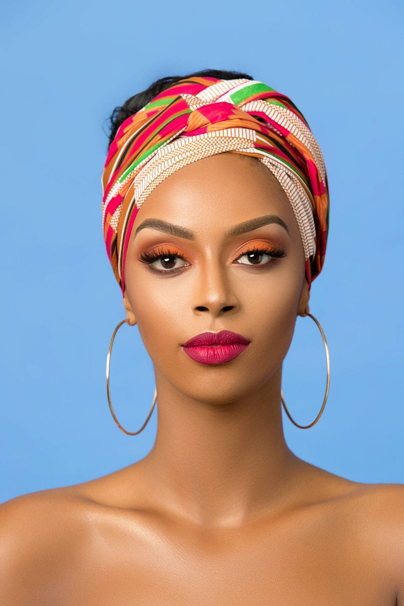Grass-Fields headwrap African Print Rose Headwrap