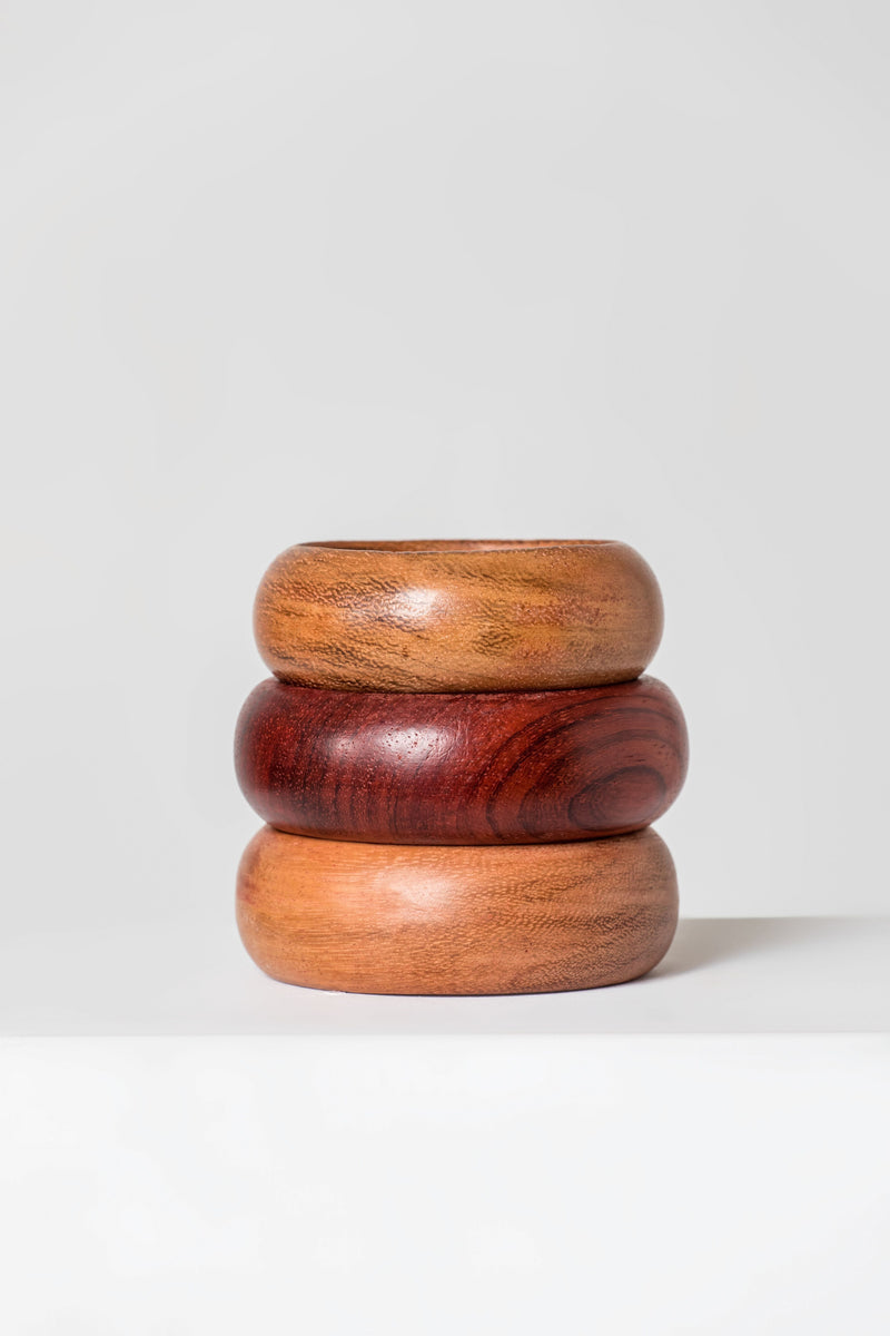 Grass-Fields headwrap Wooden Bangles-SET 1