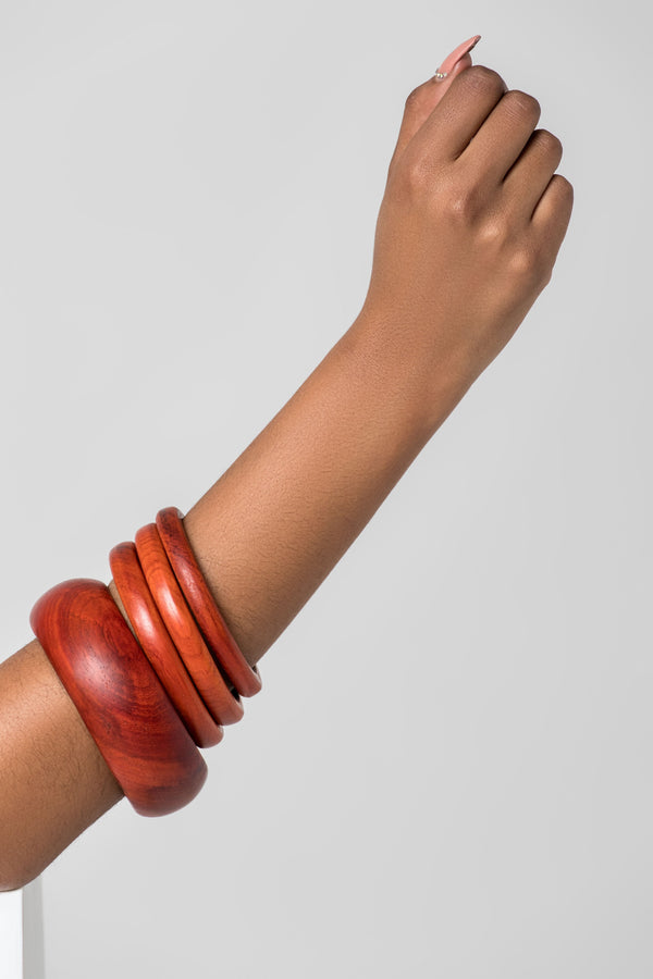 Grass-Fields headwrap Wooden Bangles-SET 2