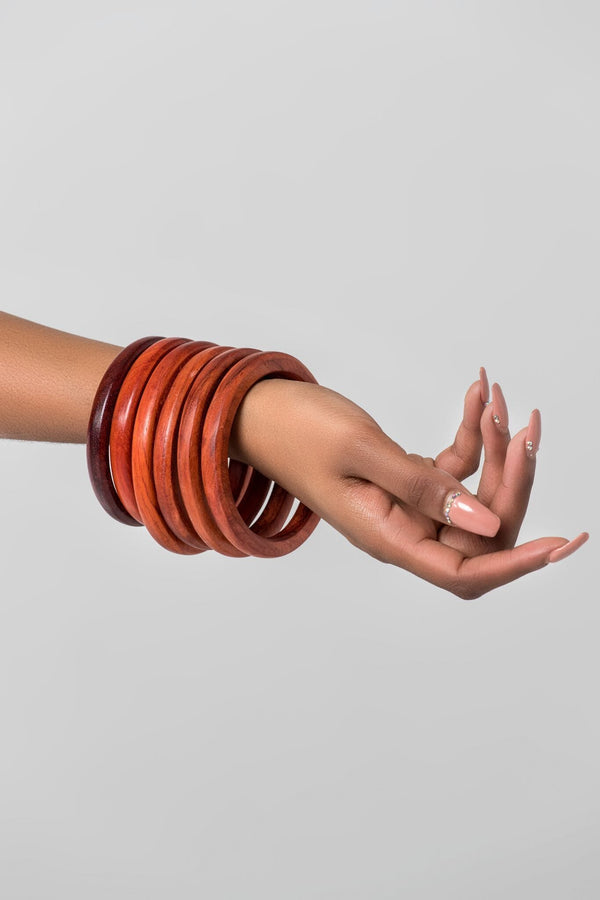 Grass-Fields headwrap Wooden Bangles-SET 3