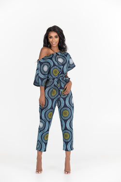 Grass-Fields Jumpsuit African Print Hadiya One-Shoulder Jumpsuit