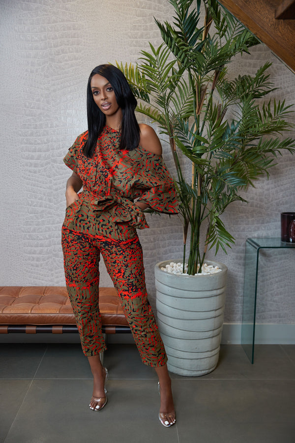 Grass-Fields Jumpsuit African Print Tafari One-Shoulder Jumpsuit