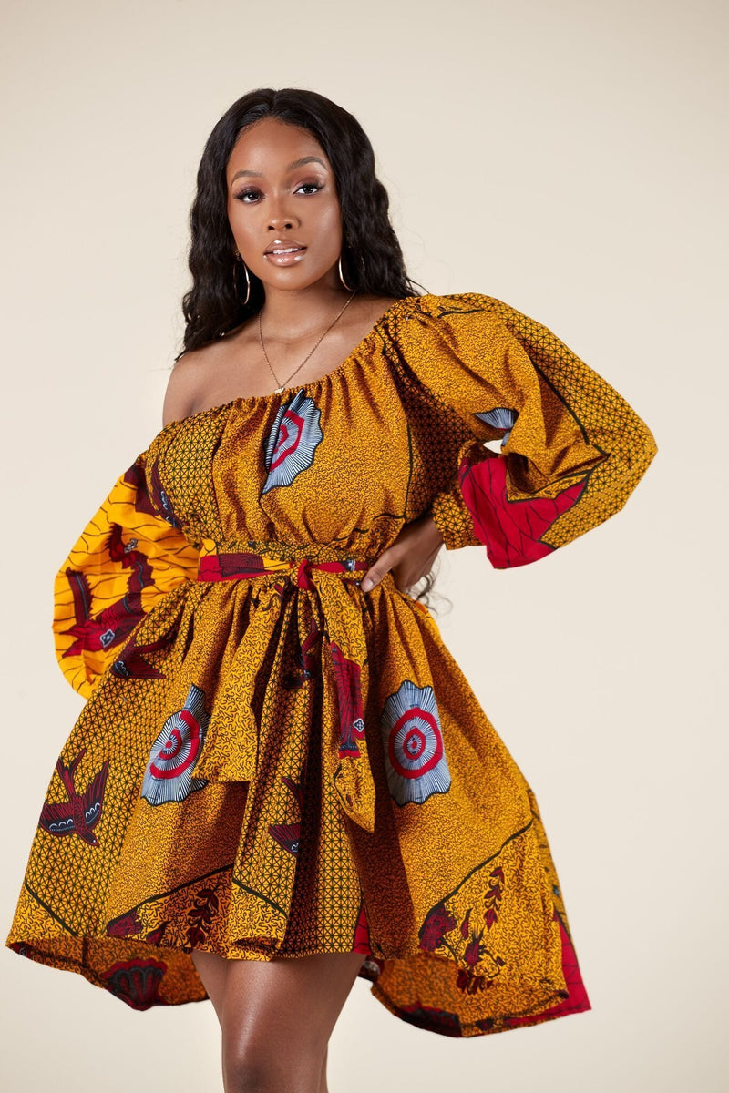 Grass-Fields Matching Sets African Print Aba Dress