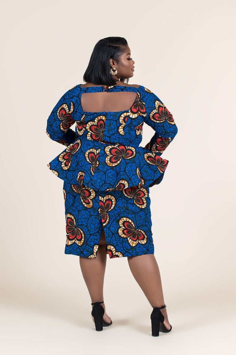 Grass-fields Matching Sets African Print Abayo Peplum Top