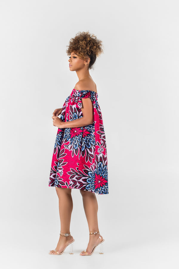 Grass-Fields Matching Sets African Print Calie Off Shoulder Dress