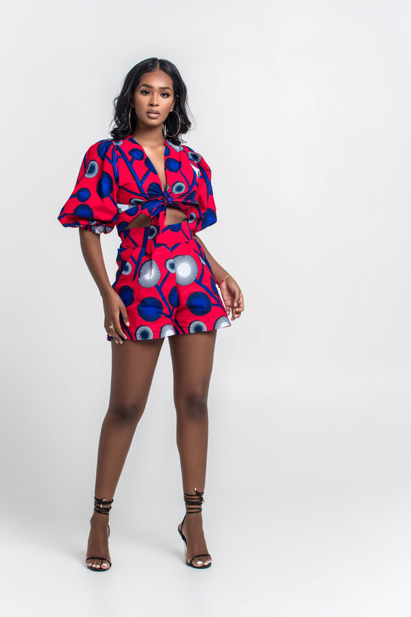 Grass-Fields Matching Sets African Print Damilola Shorts