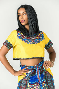 Grass-Fields Matching Sets African Print Dashiki Nyla Crop Top