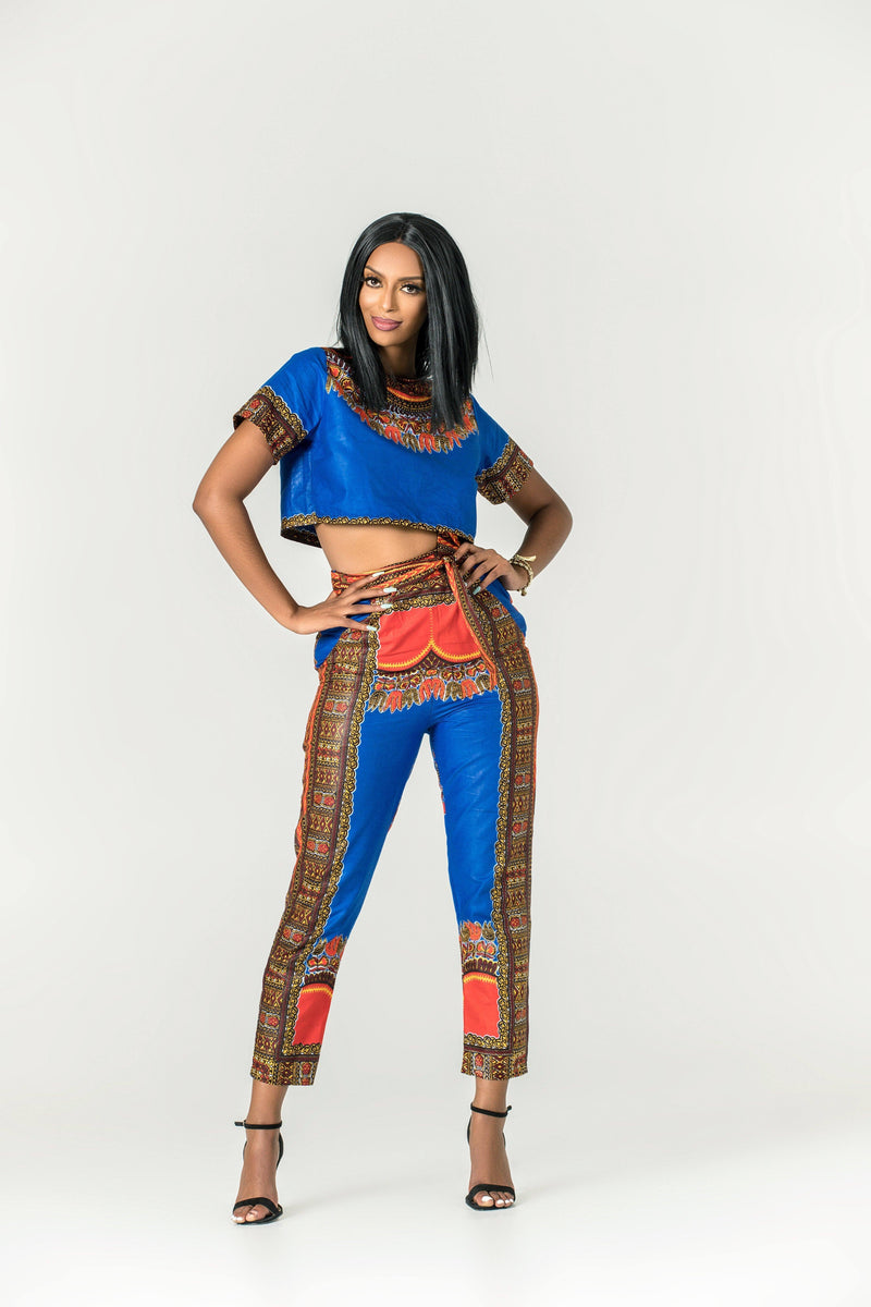 Grass-Fields Matching Sets African Print Dashiki Zaria Crop Top