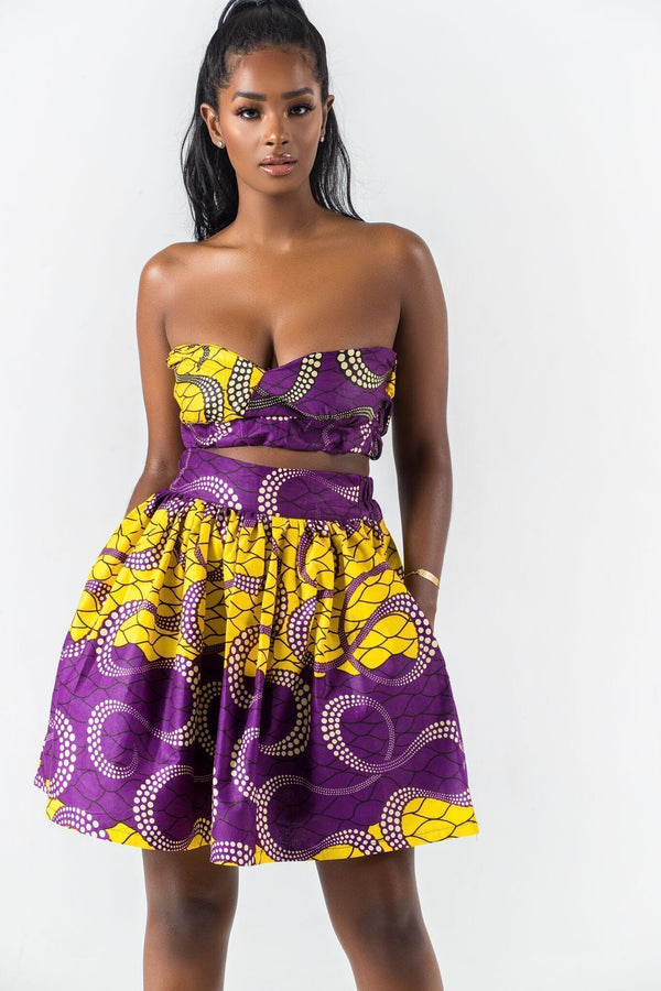 Grass-Fields Matching Sets African Print Falia Crop Top