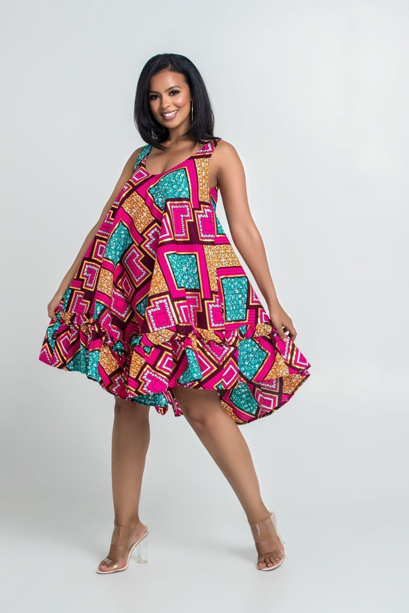Grass-Fields Matching Sets African Print Famara Dress