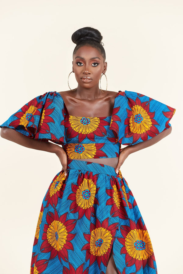 Grass-Fields Matching Sets African Print Fanta Crop Top