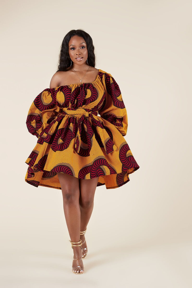 Grass-Fields Matching Sets African Print Habiba Dress