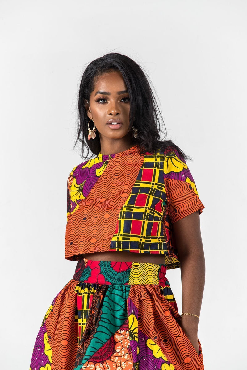 Grass-Fields Matching Sets African Print Joasia Crop Top