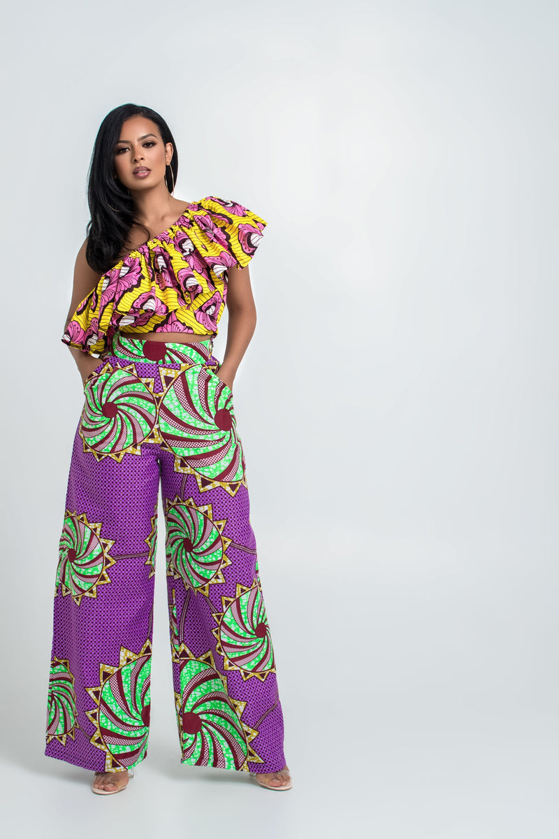 Grass-Fields Matching Sets African Print Koula Crop Top