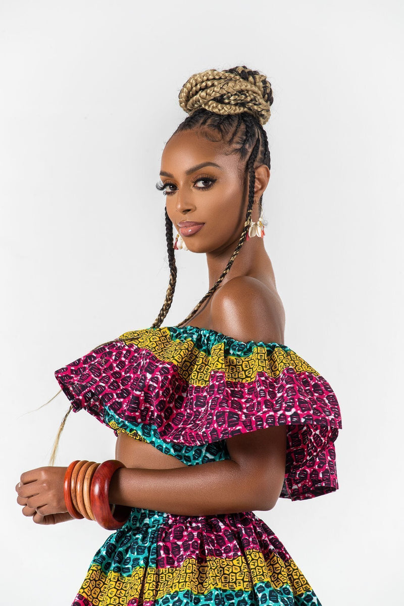 Grass-Fields Matching Sets African Print Linajah Crop Top