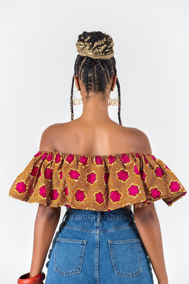Grass-Fields Matching Sets African Print Lisandrina Crop Top