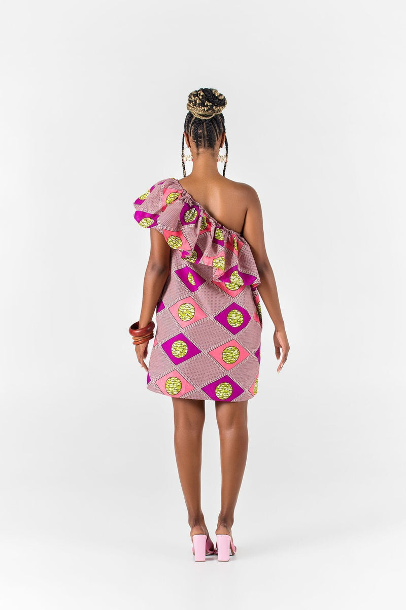 Grass-Fields Matching Sets African Print Madina One Shoulder Dress